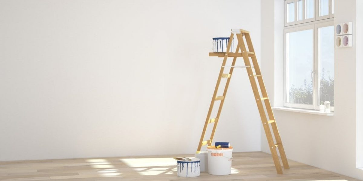 Painting walls in room with ladder. 3d rendering