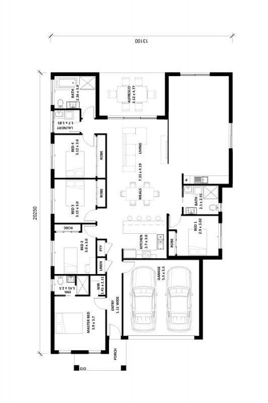 Arres-26.5SQ-II House and Granny Floor Plan Img